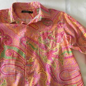Ralph Lauren Button up Paisley Tunic Sz Medium